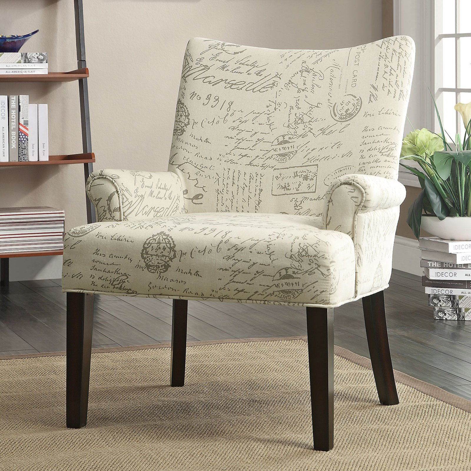 Incroyable Coaster French Script Accent Chair, White
