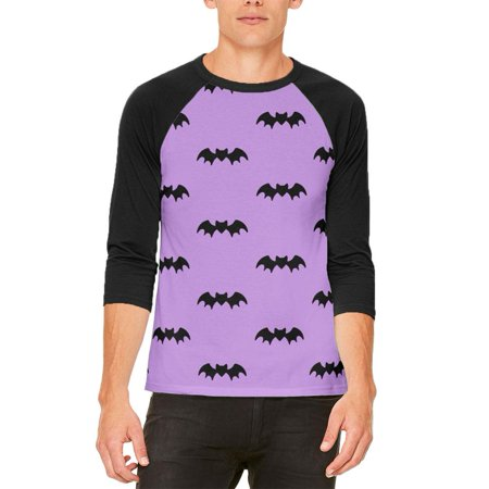 Halloween Bats Pattern Mens Raglan T Shirt (Bat Print Out Halloween)