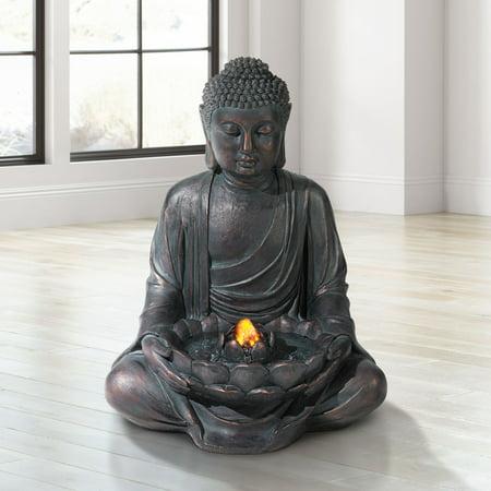 John Timberland Meditating Aged Bronze Buddha Led Indoor/Outdoor Fountain