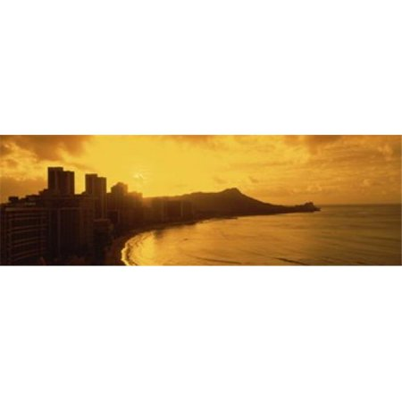 USA  Hawaii  Honolulu  Waikiki Beach  Sunrise view of city and beach Poster Print by  - 36 x 12