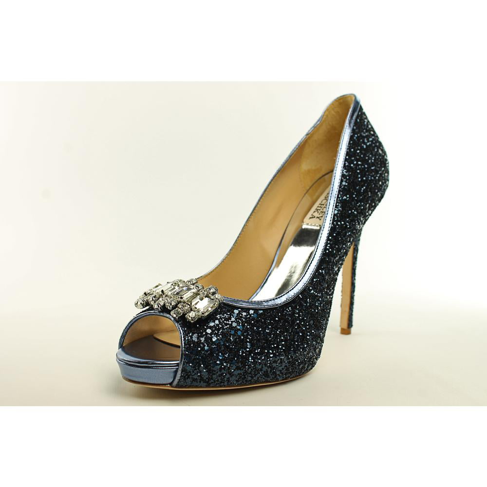 Badgley Mischka Alter II Women Open-Toe Canvas Blue Heels by Badgley Mischka