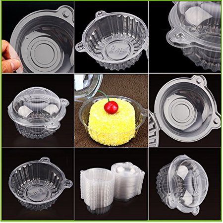 Anauto 400 PCS Clear Plastic Cupcake Box Single Cake Case Muffin Pod Dome Holder Container for Sandwich Hamburgers fruit Salad Party Favor Cake Holder Muffin Case Cups Pod - Single Cupcake Boxes