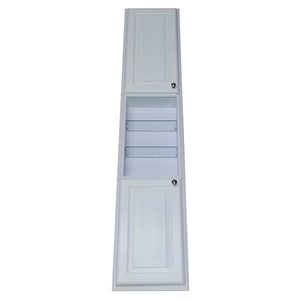 Beau WG Wood Products Barbados White Enamel Finished 78 Inch Recessed Pantry  Storage Cabinet With 24
