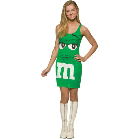 Green M&M's Tank Dress Teen Halloween Costume, One Size, (13-16) - Mm Costumes