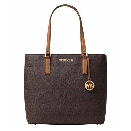 michael michael kors womens morgan medium tote shoulder handbag signature logo (brown)