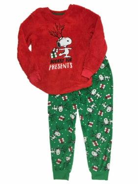 Peanuts Womens Red Fleece Snoopy Holiday Pajamas Christmas Present Sleep Set