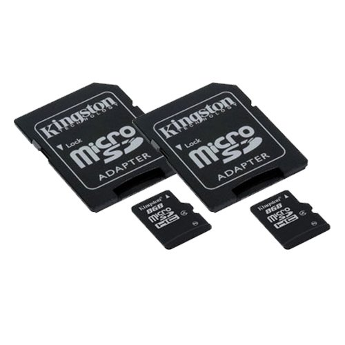 Pantech P8010 Cell Phone Memory Card 2 x 8GB microSDHC Memory Card with SD Adapter (2 Pack)