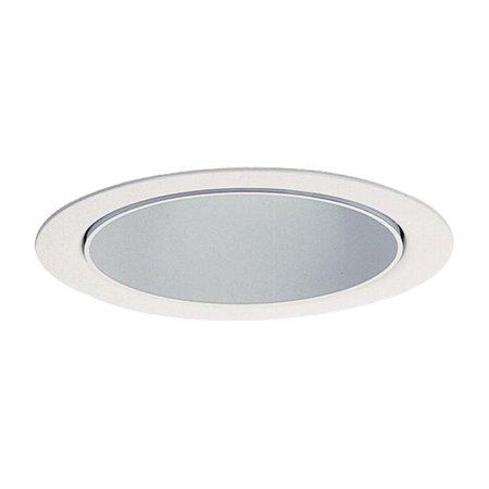 Lightolier 2027WH 3-3/4 Inch Adjustable Accent Reflector Matte White Step Baffle Trim Round Galvanized Lytecaster