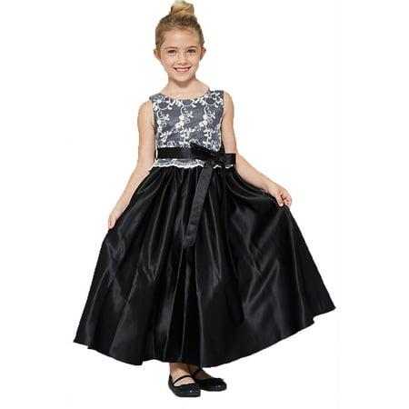 Good Girl Little Girls Black Lace Overlay Satin Sash Flower Girl Dress 2](Black Flower Girl Dresses)
