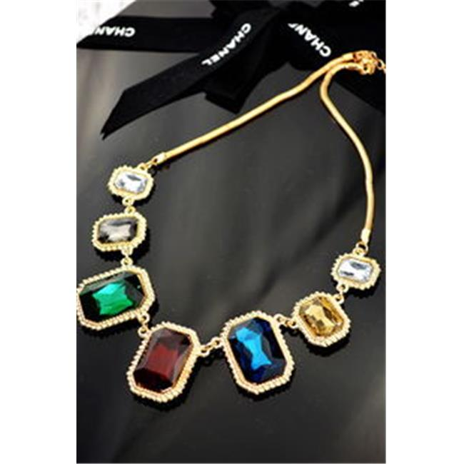 Ame Jewelers N0027 Colored Crystal Necklace with Golden FrAme