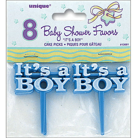 It's A Boy Baby Shower Cupcake Toppers, 2.5 in, Blue, 8ct - Halloween Themed Baby Shower Cupcakes