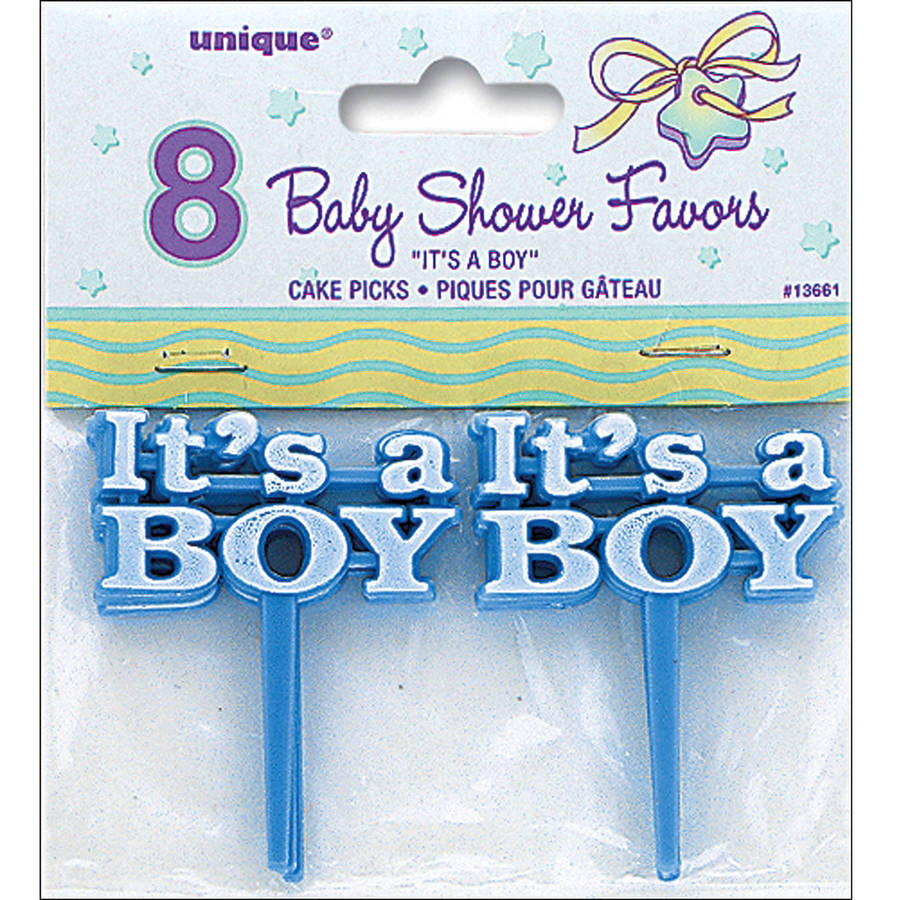 It's A Boy Baby Shower Cupcake Toppers, 2.5 in, Blue, 8ct