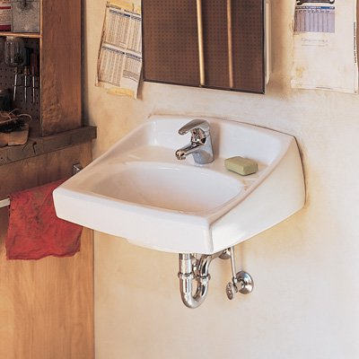 American Standard 0355.012.020 Lucerne Wall Mounted Lavatory Sink for Wall Hangers (included) or Concealed Arms (not included) with Three Faucet Holes (4 Centers), White