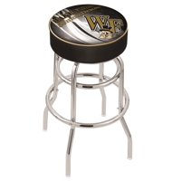 Wake Forest 25 Inch L7C1 Cushion Seat With Double Rung Chrome Base Bar Stool