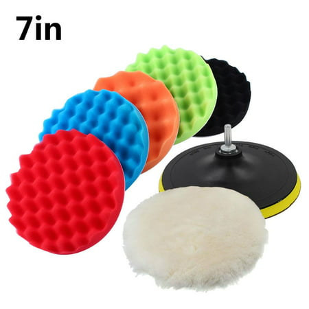 Polishing Pads, HERCHR 7pcs 7  Car Sponge Polishing kit with M14 Drill Adapter - 5 Sponge Polisher Pads + 1 Woolen Buffing Pad - for Car Cleaning, Sanding, Polishing, Waxing, Sealing Glaze