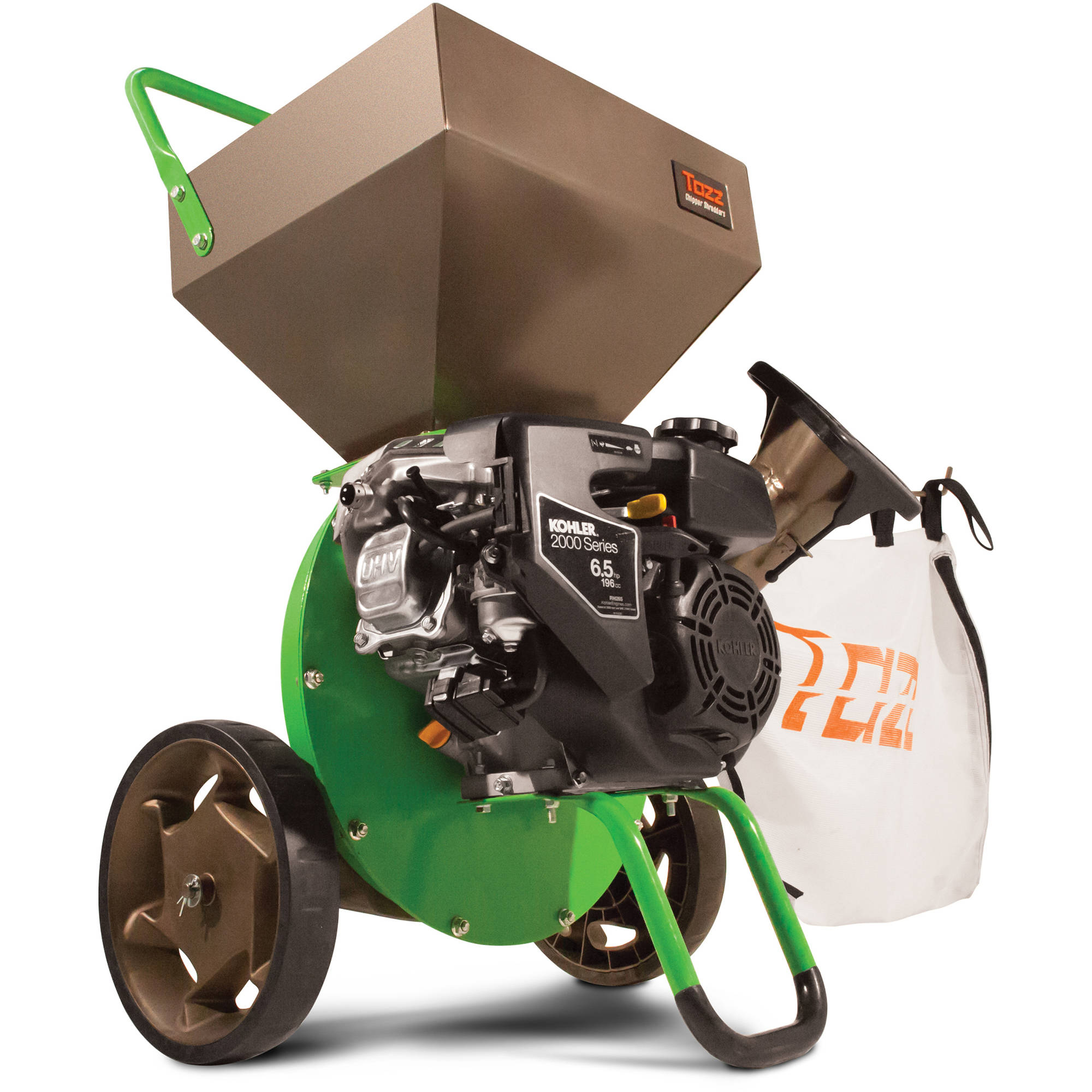 Tazz Chipper Shredders K52 Chipper Shredder with 196cc Kohler Engine, Green