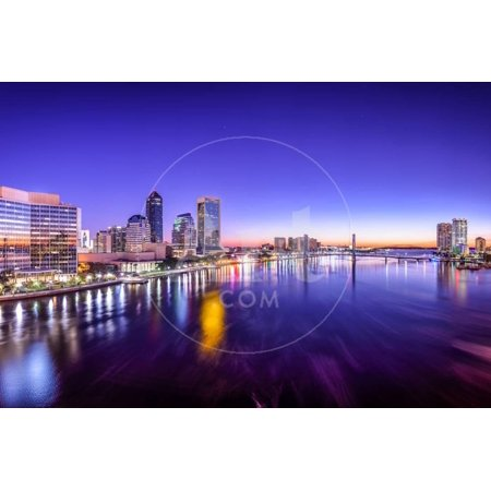 Party City In Jacksonville Florida (Jacksonville, Florida, USA City Skyline Panorama on St. Johns River at Dawn. Print Wall Art By)