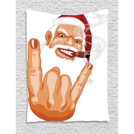 Claus Tapestry - Christmas Tapestry, Santa Claus Making Mouse Rocker Gesture Smoking A Cigar Noel Humor Celebration, Wall Hanging for Bedroom Living Room Dorm Decor, 60W X 80L Inches, Multicolor, by Ambesonne