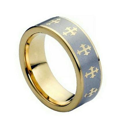 8mm - For Men Or Ladies  Gold Plated With Cross On Brushed Center Tungsten Carbide Wedding Band Ring