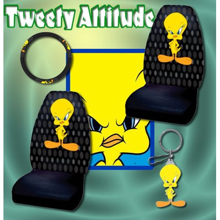 4pc Tweety Bird Car Seat Covers Steering Wheel Set Shipping Included