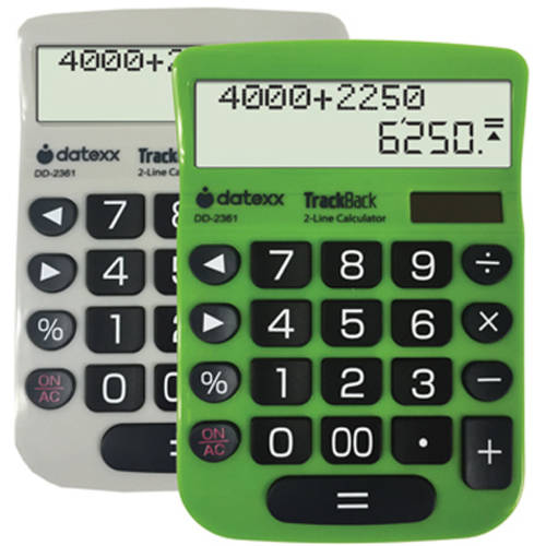 Datexx 2-Line TrackBack Desktop Calculator, 2-Pack