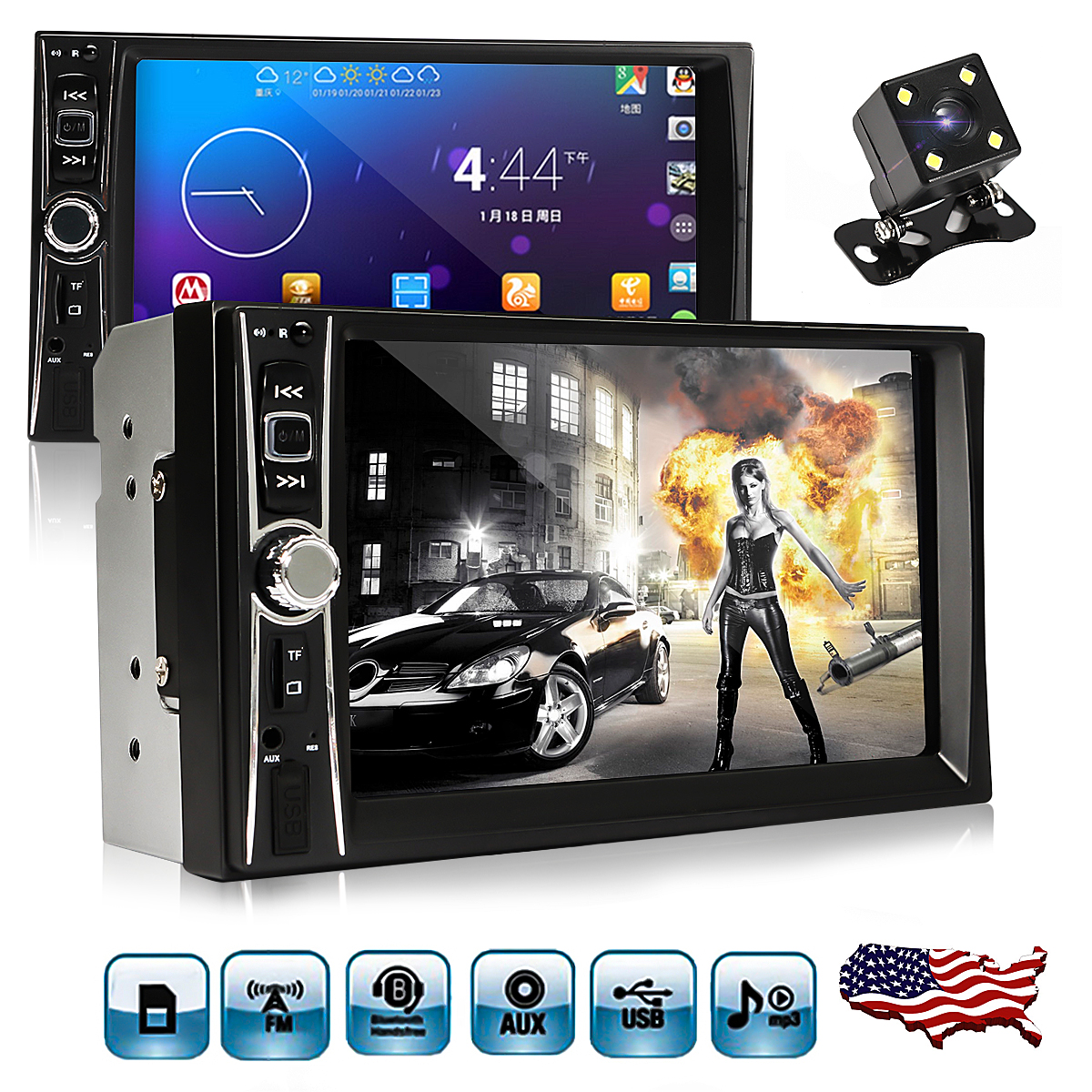 7'' 2 Double Din HD1080P Touch Screen Car MP5 MP3 Player Bluetooth In Dash Car Stereo Radio Aux TF/USB FM Aux+HD Rearview Camera+Remote Control