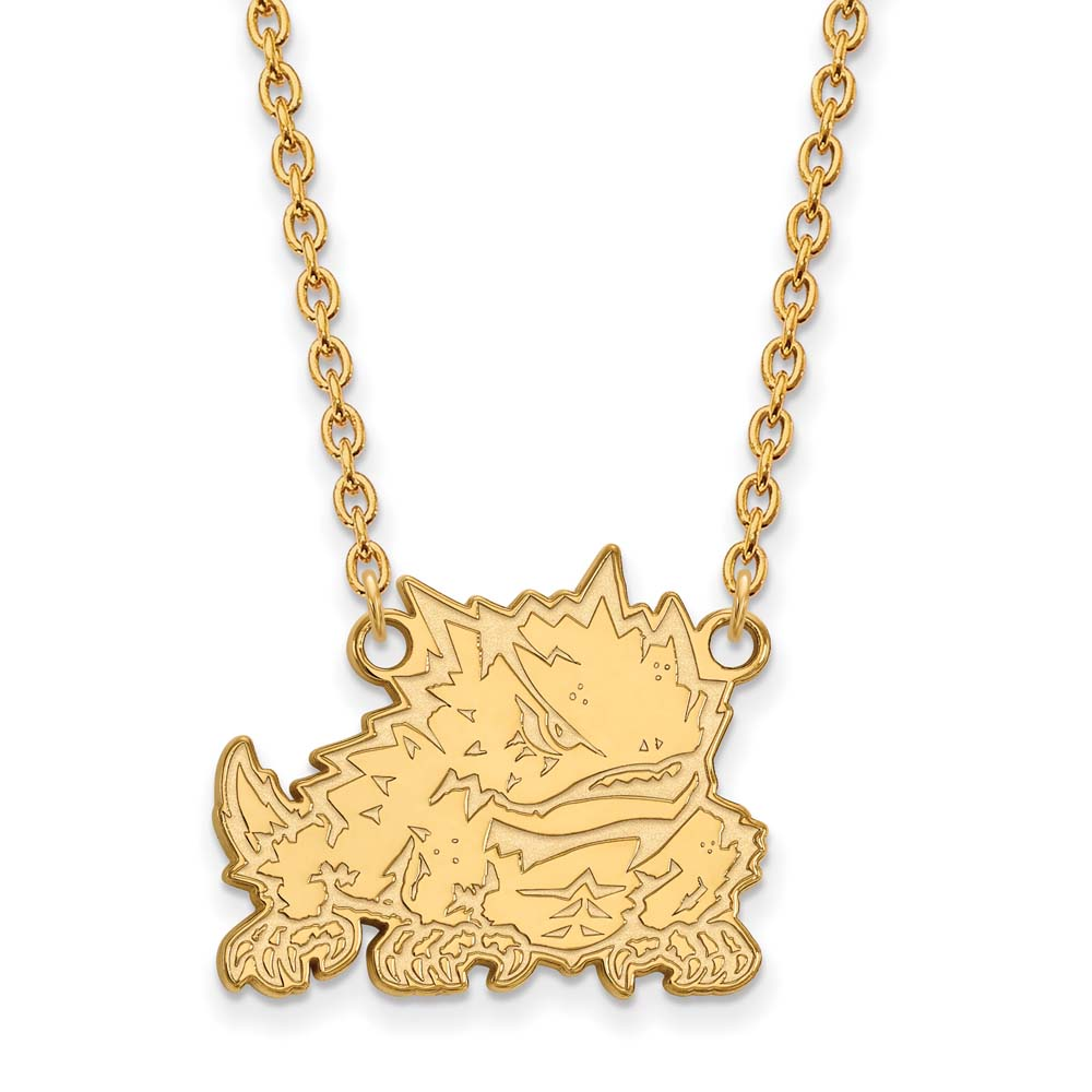 TCU Large (3/4 Inch) Pendant w/ Necklace (Gold Plated)