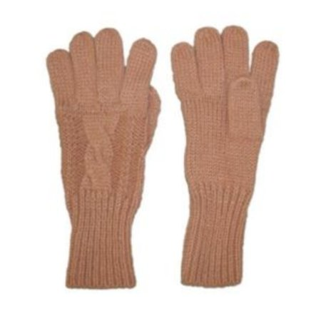 Fownes Womens Soft   Sleek Tan Cable Knit Gloves