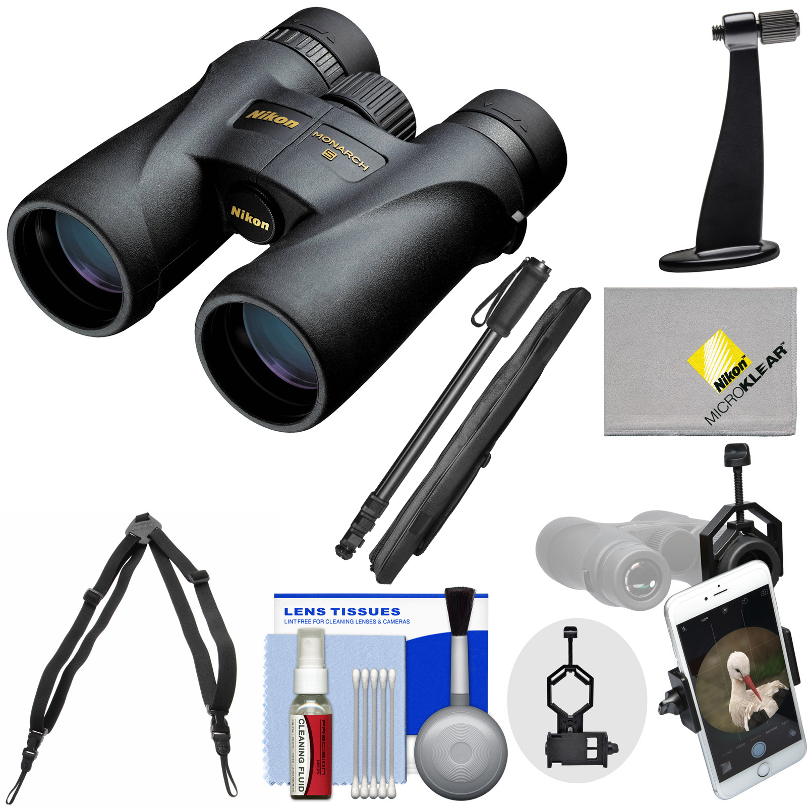 Nikon Monarch 5 8x42 ED ATB Waterproof / Fogproof Binoculars with Case + Harness + Smartphone and Tripod Adapters + Monopod + Cleaning Kit