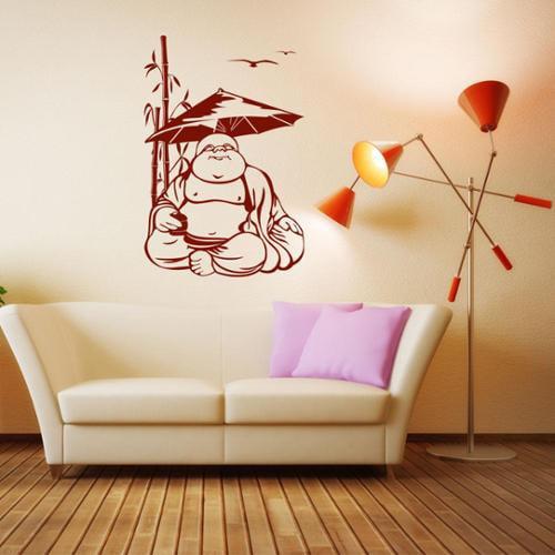 Happy Buddha Exotic Vinyl Wall Art 46in x 71in Beige