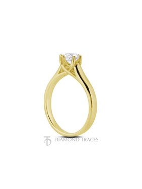 0.39ct D-VS2 Ideal Round Certified Diamond 14k Gold Trellis Solitaire Ring 2.6mm
