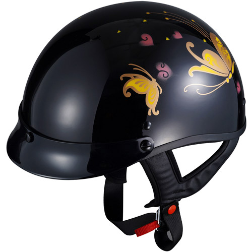 GLX DOT Women's Butterfly Half Motorcycle Helmet, Black, XS