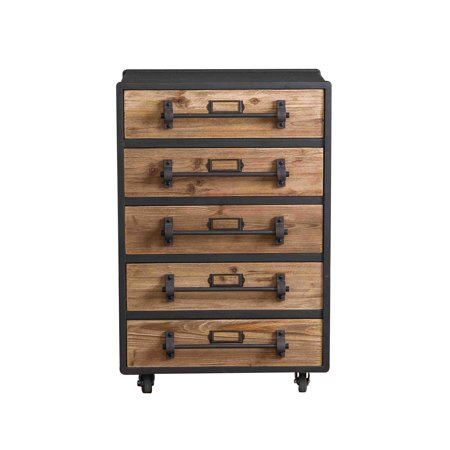 - Quaint Industrial 5-Drawer Wooden Chest with Lockable Casters
