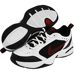 NIKE Men's Air Monarch IV (4E) Athletic Shoe, white/black, 7.0 4E US
