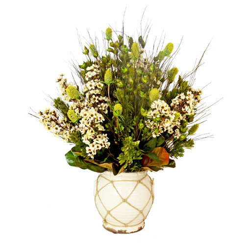 Creative Displays, Inc. Cream Delphinium and Thistle Arrangement in Ceramic Planter