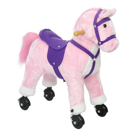 - Kinbor Kids Girls Boys Walking Pony Ride on Horse Rocking Toy Neigh Sound w/Wheels