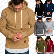 Mens Slim Fit Plain Hooded Sweatshirt Pullover Hoodies Sweater Jacket Coat Tops