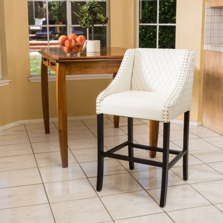 Lawson White Quilted Leather Bar Stool