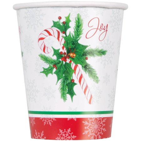 Candy Cane Christmas Paper Cups, 9oz, 8ct (Christmas Paper Cups)
