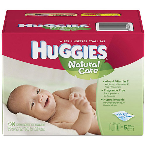 Huggies - Natural Care Fragrance Free Hypoallergenic Baby Wipes Refill Box, 360 count