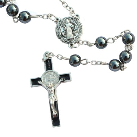 Hematite Stone Rosary Beads Necklace With Jesus Anti-Tarnish Cross Pendant Charms Prayer Catholic Jewelry-392-R