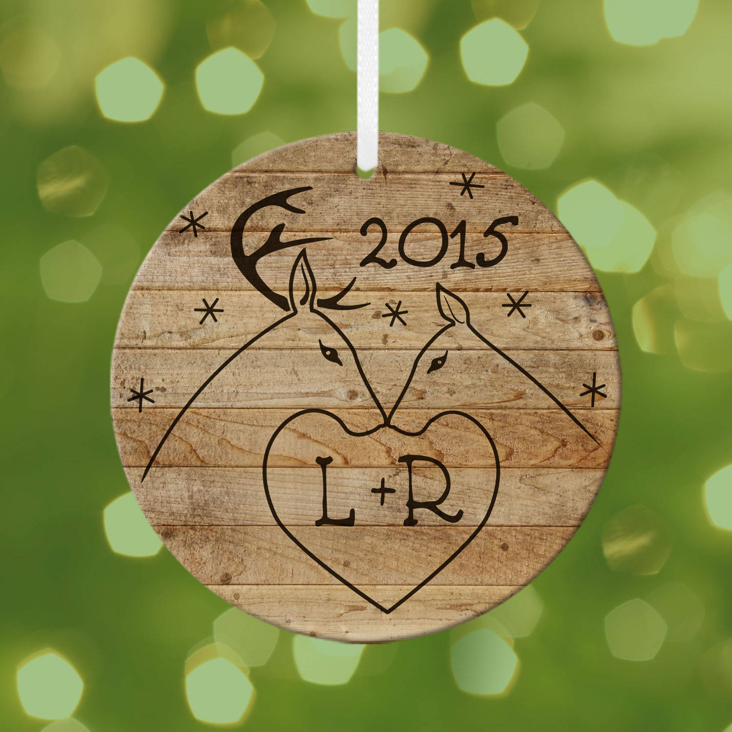 Personalized Rustic Deer Couple, Initial Round Ornament