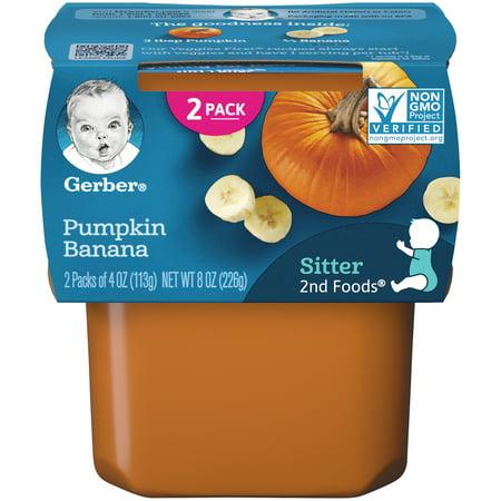 Baby Boo Pumpkin - Gerber 2nd Foods Pumpkin Banana Baby Food, 4 oz. Tubs, 2 Count (Pack of 8)