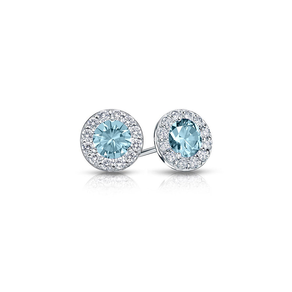 Aquamarine CZ Halo Stud Earrings in 925 Sterling Silver - image 3 of 3