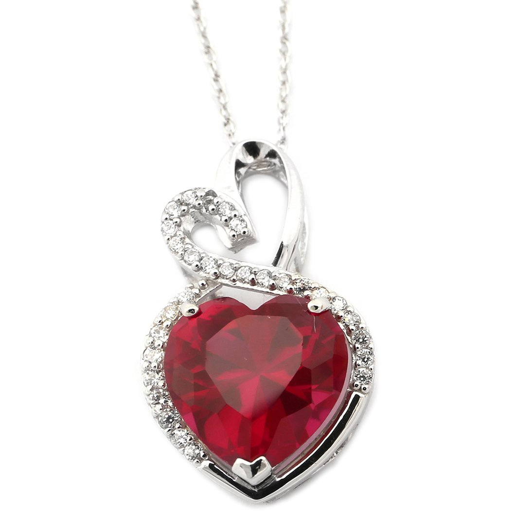 14k Yellow or White Gold Simulated Ruby and Cubic Zirconia Double Heart Halo Pendant Necklace by