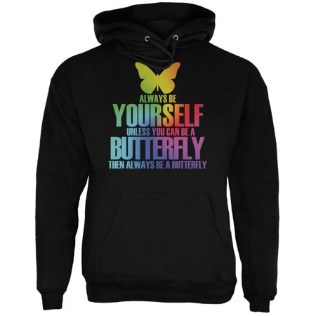 Always Be Yourself Butterfly Black Adult Hoodie ()