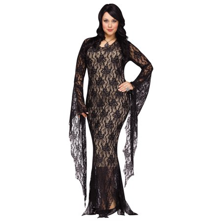 Lace Morticia Adult Plus Costume - Morticia E Gomez Halloween