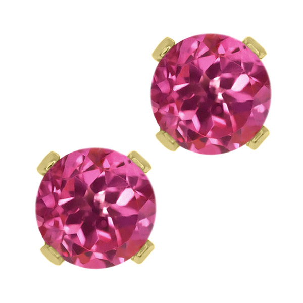 1.00 Ct Round Pink Tourmaline 14K Yellow Gold 4-prong Stud Earrings 5mm by