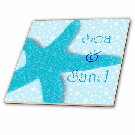 - 3dRose Aqua Sea and Sand Starfish - Beach themed Ocean Art - Ceramic Tile, 12-inch