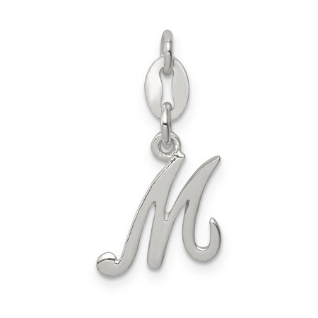 925 Sterling Silver Initial Monogram Name Letter M Pendant Charm Necklace Gifts For Women For Her